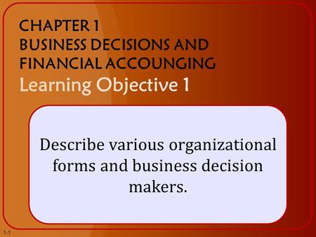 Describe various organizational forms and business decision makers. 1-1.