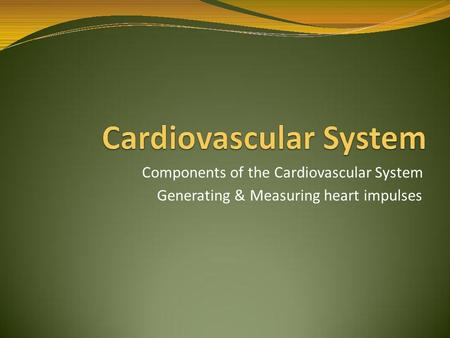 Components of the Cardiovascular System Generating & Measuring heart impulses.