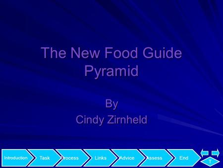 Introduction TaskProcessLinksAdviceAssessEnd T The New Food Guide Pyramid By Cindy Zirnheld.