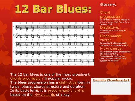 The 12 bar blues is one of the most prominent chords progression in popular music. The blues progression has a distinctive form in lyrics, phase, chords.