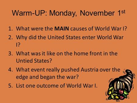 Warm-UP: Monday, November 1st