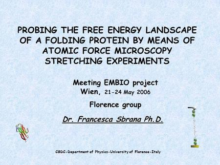 PROBING THE FREE ENERGY LANDSCAPE OF A FOLDING PROTEIN BY MEANS OF ATOMIC FORCE MICROSCOPY STRETCHING EXPERIMENTS Meeting EMBIO project Wien, 21-24 May.