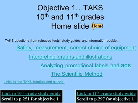 Objective 1…TAKS 10 th and 11 th grades Home slide Home Link to 10 th grade study guide Scroll to p.251 for objective 1 Link to 11 th grade study guide.