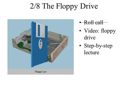 2/8 The Floppy Drive Roll call Video: floppy drive Step-by-step lecture.