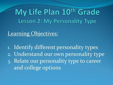 Learning Objectives: 1. Identify different personality types 2. Understand our own personality type 3. Relate our personality type to career and college.