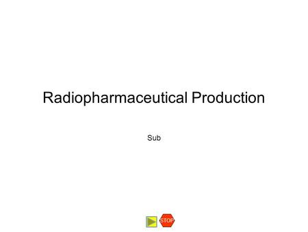 Radiopharmaceutical Production Sub STOP. Radionuclidic purity Radionuclidic purity may be defined as the fraction of total radioactivity that is present.