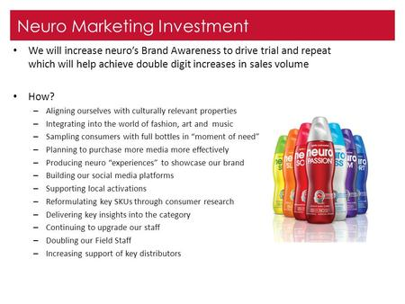 Neuro Marketing Investment We will increase neuro's Brand Awareness to drive trial and repeat which will help achieve double digit increases in sales volume.