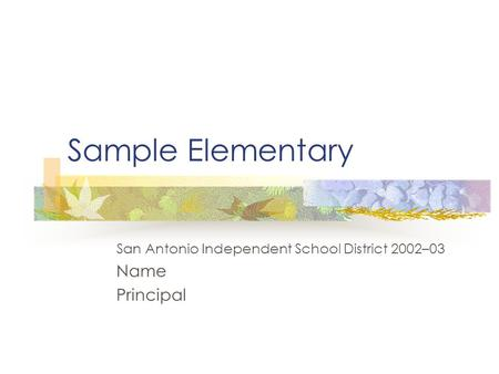 Sample Elementary San Antonio Independent School District 2002–03 Name Principal.