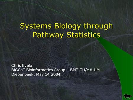 Systems Biology through Pathway Statistics Chris Evelo BiGCaT Bioinformatics Group – BMT-TU/e & UM Diepenbeek; May 14 2004.