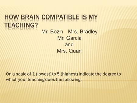On a scale of 1 (lowest) to 5 (highest) indicate the degree to which your teaching does the following: Mr. Bozin Mrs. Bradley Mr. Garcia and Mrs. Quan.