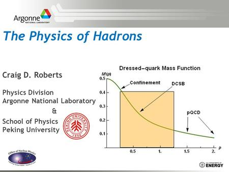 The Physics of Hadrons Craig D. Roberts Physics Division Argonne National Laboratory & School of Physics Peking University.