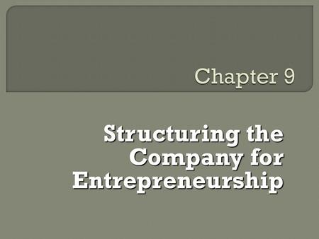 Structuring the Company for Entrepreneurship. E E  Structure refers to the formal pattern of how people and jobs are grouped and how the activities.