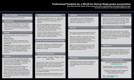 POSTER TEMPLATES BY: www.POSTERPRESENTATIONS.com This is where you'd plop your patient information but, truth be told, not all studies involve patients.