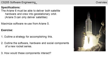CS205 Software Engineering_Overview Specifications: The Ariane 6 must be able to deliver both satellite hardware and crew into geostationary orbit. (Ariane.