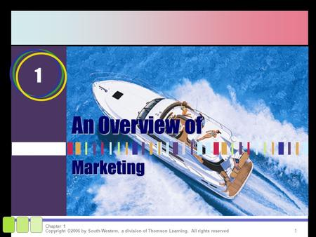 1 Copyright ©2006 by South-Western, a division of Thomson Learning. All rights reserved Chapter 1 1 An Overview of Marketing.