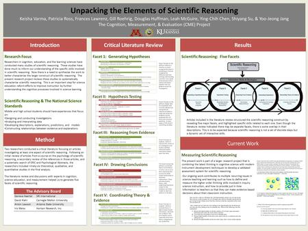 Unpacking the Elements of Scientific Reasoning Keisha Varma, Patricia Ross, Frances Lawrenz, Gill Roehrig, Douglas Huffman, Leah McGuire, Ying-Chih Chen,