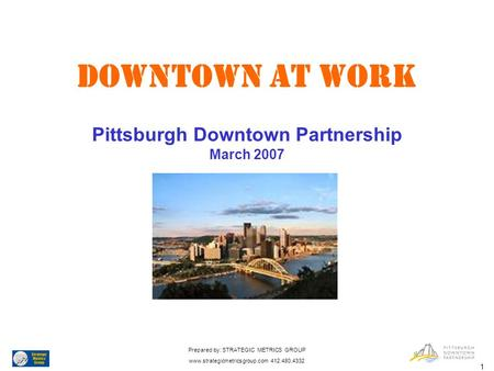 1 DOWNTOWN AT WORK Pittsburgh Downtown Partnership March 2007 Prepared by: STRATEGIC METRICS GROUP www.strategicmetricsgroup.com 412.480.4332.