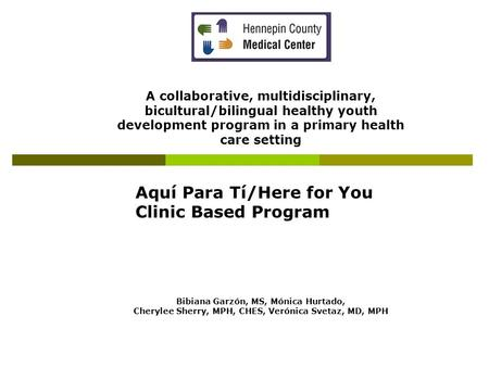 A collaborative, multidisciplinary, bicultural/bilingual healthy youth development program in a primary health care setting Aquí Para Tí/Here for You Clinic.
