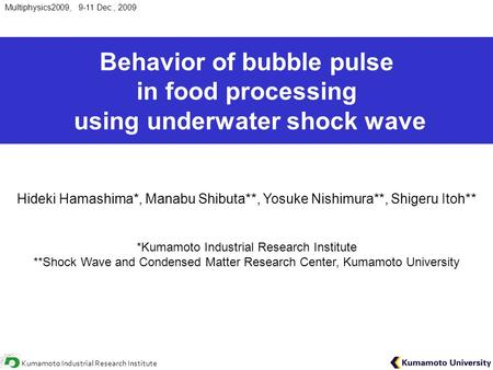 Multiphysics2009, 9-11 Dec., 2009 Kumamoto Industrial Research Institute Behavior of bubble pulse in food processing using underwater shock wave Hideki.