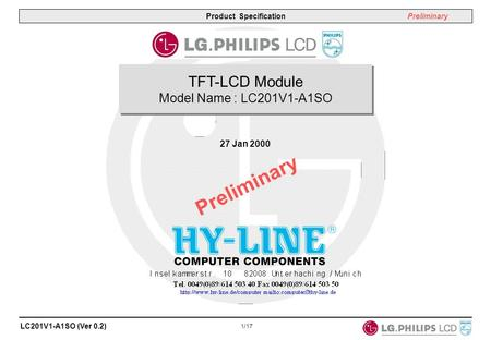 TFT-LCD Module Model Name : LC201V1-A1SO 27 Jan 2000 Preliminary.