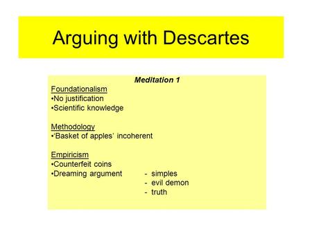 Arguing with Descartes