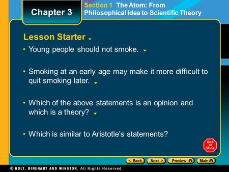 Chapter 3 Lesson Starter Young people should not smoke.