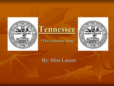 "Tennessee ""The Volunteer State"" By: Miss Lauren. 10:30 Lowe Finney TN Representative for Gibson County."