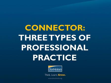 CONNECTOR: THREE TYPES OF PROFESSIONAL PRACTICE. CONNECTOR Outcome: Develop YOUR OWN understanding of the Instructional Framework Elements and begin to.