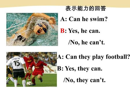 A: Can he swim? B: Yes, he can. /No, he can't. A: Can they play football? B: Yes, they can. /No, they can't. 表示能力的回答.