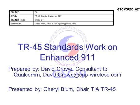 TR-45 Standards Work on Enhanced 911 Prepared by: David Crowe, Consultant to Qualcomm, Presented by: Cheryl Blum, Chair TIA.