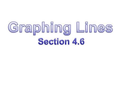 Graphing Lines Section 4.6.
