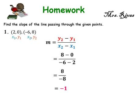 Mrs. Rivas Find the slope of the line passing through the given points.