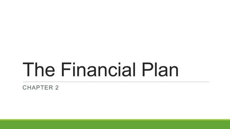 The Financial Plan CHAPTER 2. Chapter Objectives Describe the purpose of a financial plan Identify the key components of a financial plan.
