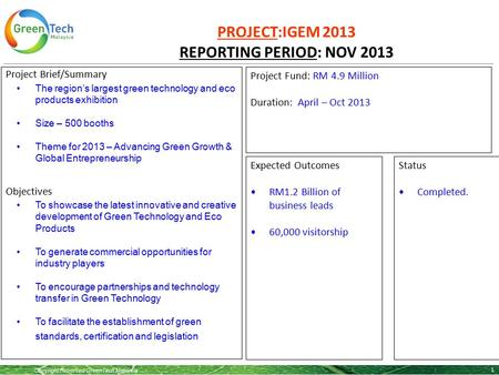 Copyright Reserved GreenTech Malaysia PROJECT:IGEM 2013 REPORTING PERIOD: NOV 2013 1 Project Brief/Summary The region's largest green technology and eco.