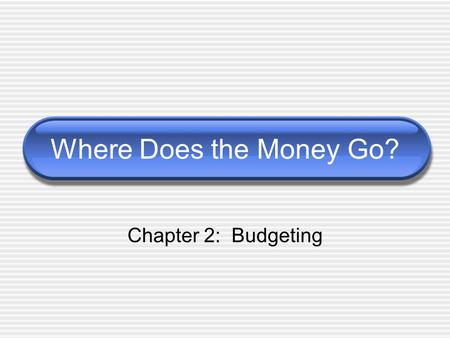 Where Does the Money Go? Chapter 2: Budgeting.