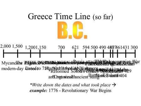Greece Time Line (so far) *Write down the dates and what took place  example: 1776 - Revolutionary War Begins 2,000 300 1,500 Mycaneans migrated to modern-day.