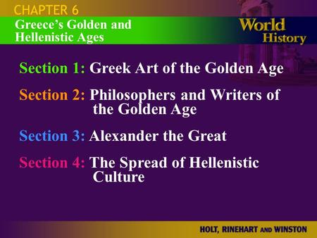 Section 1: Greek Art of the Golden Age