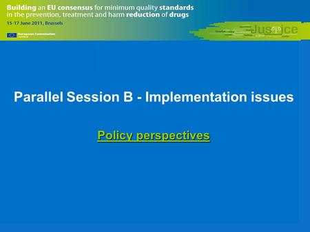 Parallel Session B - Implementation issues Policy perspectives.