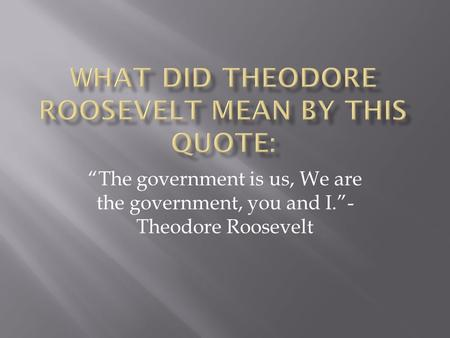 """The government is us, We are the government, you and I.""- Theodore Roosevelt."