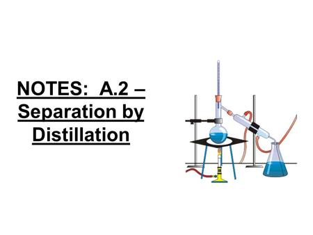 "NOTES: A.2 – Separation by Distillation. *Substances can often be separated by taking advantage of their different physical properties… remember the ""Foul."