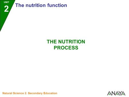 UNIT 2 The nutrition function Natural Science 2. Secondary Education THE NUTRITION PROCESS.