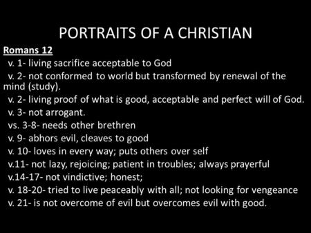 PORTRAITS OF A CHRISTIAN
