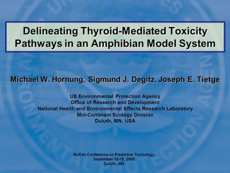 Delineating Thyroid-Mediated Toxicity Pathways in an Amphibian Model System Michael W. Hornung, Sigmund J. Degitz, Joseph E. Tietge US Environmental Protection.