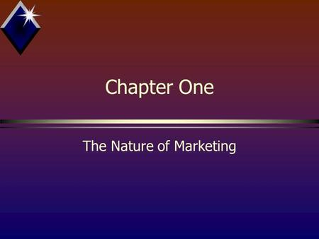 Chapter One The Nature of Marketing. Objectives bDefine & discuss marketing in its broadened sense bID elements of the marketing mix bExamine external.