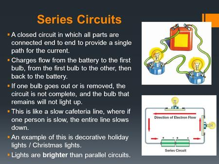 Series Circuits A closed circuit in which all parts are connected end to end to provide a single path for the current. Charges flow from the battery to.