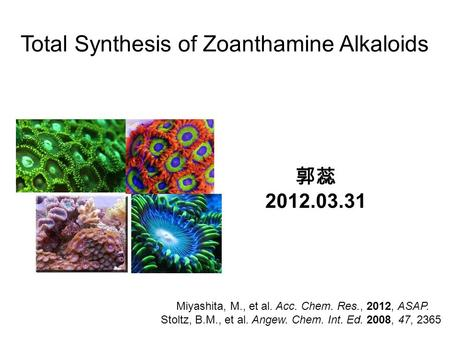 Total Synthesis of Zoanthamine Alkaloids