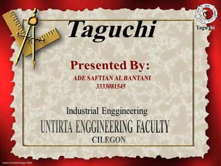 Taguchi. Abstraction Optimisation of manufacturing processes is typically performed utilising mathematical process models or designed experiments. However,