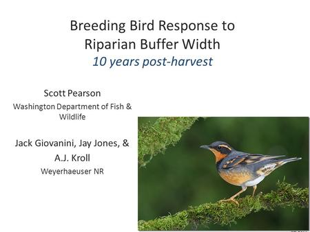 Breeding Bird Response to Riparian Buffer Width 10 years post-harvest Scott Pearson Washington Department of Fish & Wildlife Jack Giovanini, Jay Jones,
