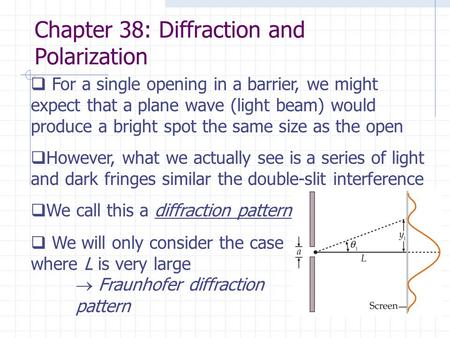Chapter 38: Diffraction and Polarization  For a single opening in a barrier, we might expect that a plane wave (light beam) would produce a bright spot.