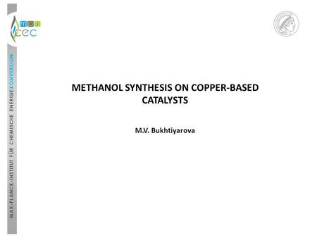 METHANOL SYNTHESIS ON COPPER-BASED CATALYSTS